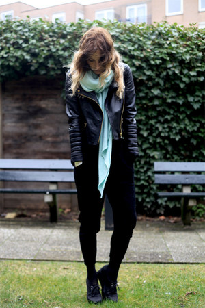 black Zara jacket - aquamarine Zara scarf - aquamarine romwe top