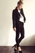 black just female jeans - black Zara jacket - white just female shirt