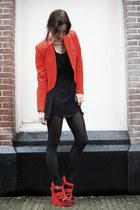 red River Island wedges - black Zara dress - red Zara blazer - gold H&M necklace