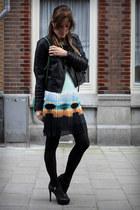 black Guess heels - aquamarine Zara dress - black Zara jacket