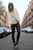 nude sequined Zara top - black Zara jeans - beige Zara blazer