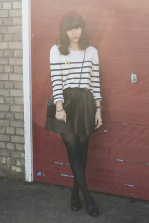 black leather skirt - red hat - breton stripe sweater