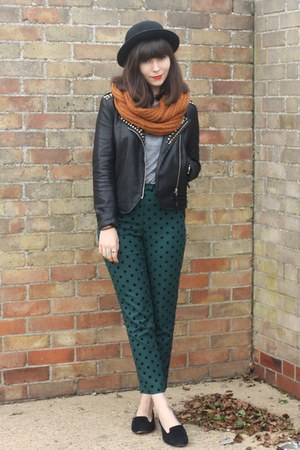teal polka dot pants - black leather Goldie London jacket - burnt orange scarf