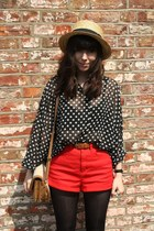 red shorts - navy blouse