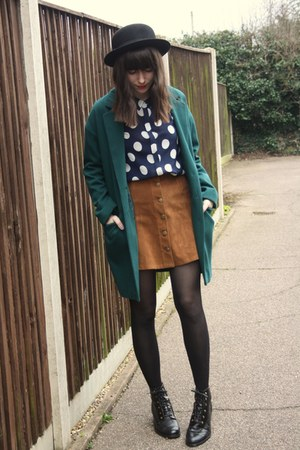 burnt orange suede MinkPink skirt - teal coat