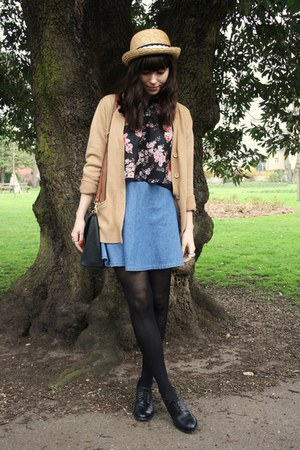 camel cardigan - sky blue denim skirt - floral blouse