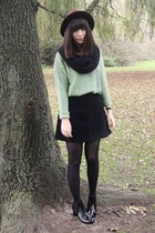 sweater - black suede skirt