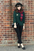 asos scarf - black Topshop jeans - forest green cable knit sweater