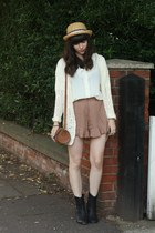 white blouse - camel frilly shorts - ivory holey cardigan