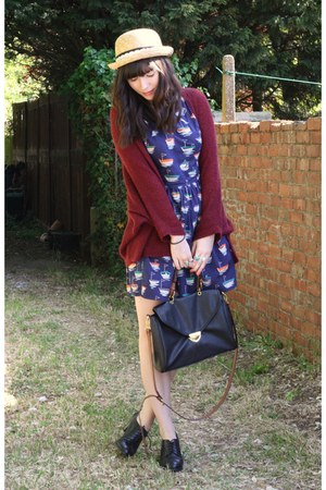 brick red cardigan - navy Topshop dress