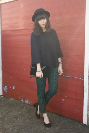 teal polka dot pants - navy sweater