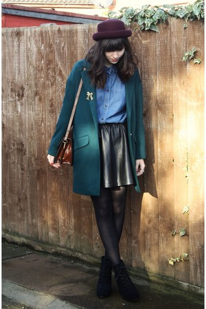 forest green coat - light blue denim shirt
