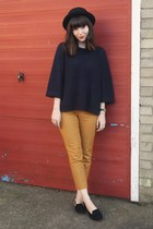 mustard pants - navy sweater