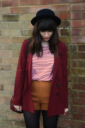 ruby red blazer - burnt orange shorts