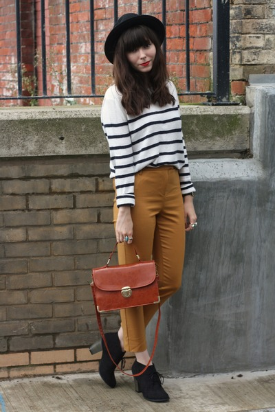 gold ankle grazer pants - breton stripe sweater