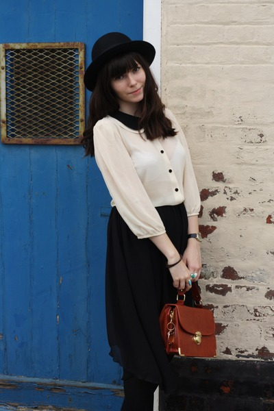 off white blouse - black asymmetrical skirt