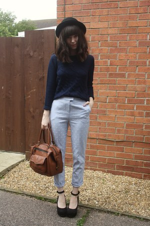 navy sweater - periwinkle pants