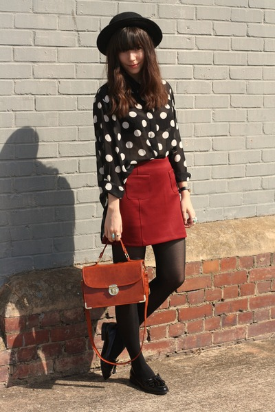 polka dot blouse - brick red skirt - black patent loafers