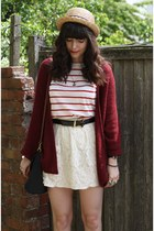 crimson cardigan - striped top - ivory lace skirt