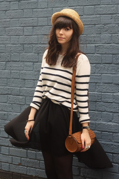 black asymmetrical skirt - breton stripe jumper