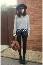 black shorts - heather gray sweater