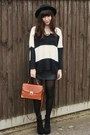 Striped-knit-sweater-black-leather-skirt