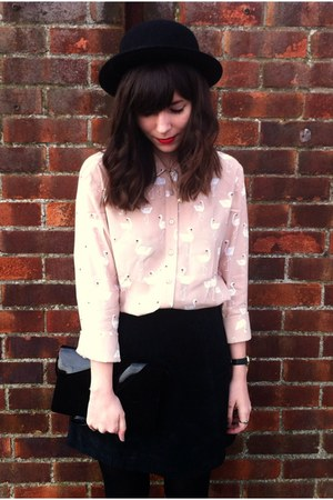 black suede skirt - light pink flamingo print shirt