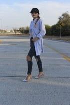 light blue vintage shirt - navy ripped asos jeans - silver t-strap Zara heels