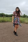 Zara-boots-floral-zara-dress-plaid-vintage-shirt-bauble-bar-ring