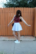 ruby red crop American Apparel top - brick red Chanel purse