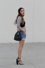 White-striped-zara-shirt-sky-blue-jean-diy-shorts-black-cropped-zara-top