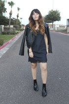 black patent Zara boots - dark green slip lace Zara dress