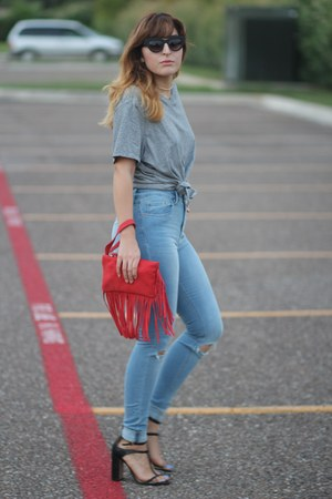 heather gray oversized vintage shirt - sky blue ripped asos jeans