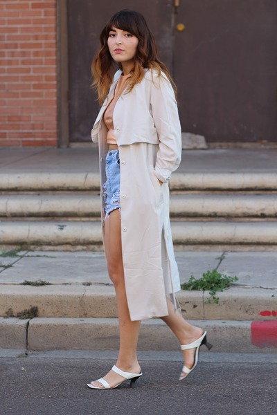 off white trench H&M coat - sky blue diy vintage shorts - light orange Zara top