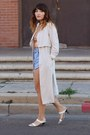 Off-white-trench-h-m-coat-sky-blue-diy-vintage-shorts-light-orange-zara-top