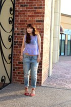 periwinkle peplum piperlime top - light blue boyfriend Gap jeans