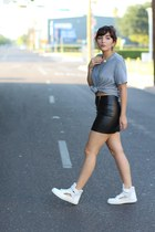white cut out H&M sneakers - black leather H&M skirt