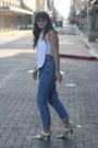 Sky-blue-vintage-calvin-klein-jeans-white-asymmetrical-zara-top