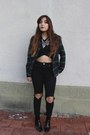 Black-zara-boots-black-asos-jeans-forest-green-plaid-zara-shirt