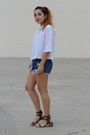 White-cropped-zara-shirt-navy-diy-vintage-shorts