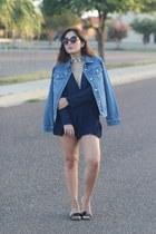 sky blue denim Beta Apparel jacket - navy playsuit Princess Polly romper