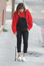 Red-cropped-h-m-sweater-black-overalls-forever-21-romper