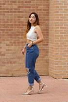 blue diy vintage jeans - white cropped Zara top - silver t-strap Zara heels