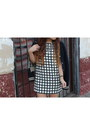 Silver-zara-shoes-white-grid-print-forever-21-dress-navy-varsity-h-m-jacket