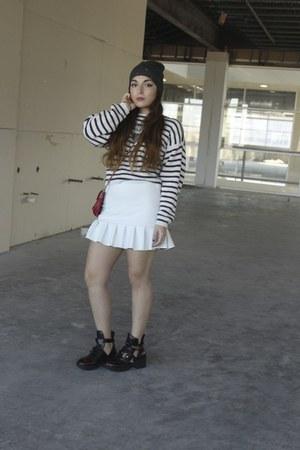 white neoprene skirt Zara skirt - maroon coltranes Jeffrey Campbell boots