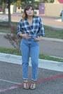 Light-blue-calvin-klein-vintage-jeans-green-plaid-vintage-shirt