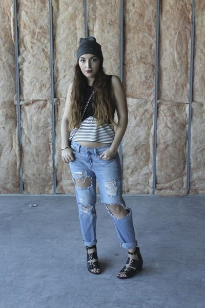 light blue boyfriend Gap jeans - black cut-out Topshop boots