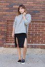 Heather-gray-zipper-h-m-sweatshirt-black-slit-asos-skirt