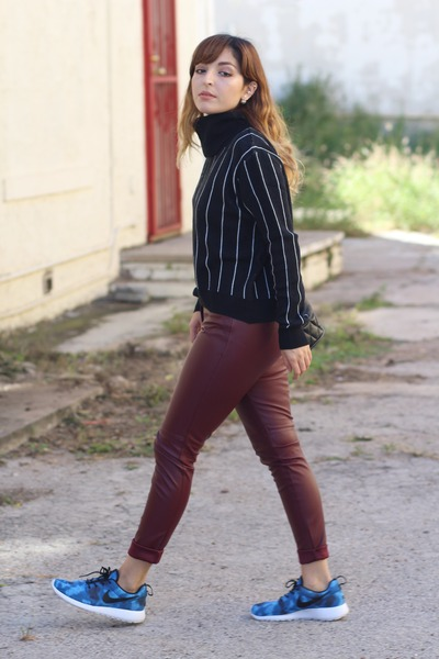 ruby red leather H&M pants - navy striped Forever 21 sweater