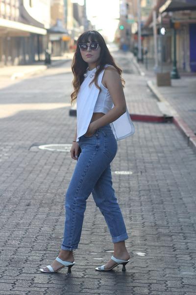 sky blue vintage calvin klein jeans - white asymmetrical Zara top